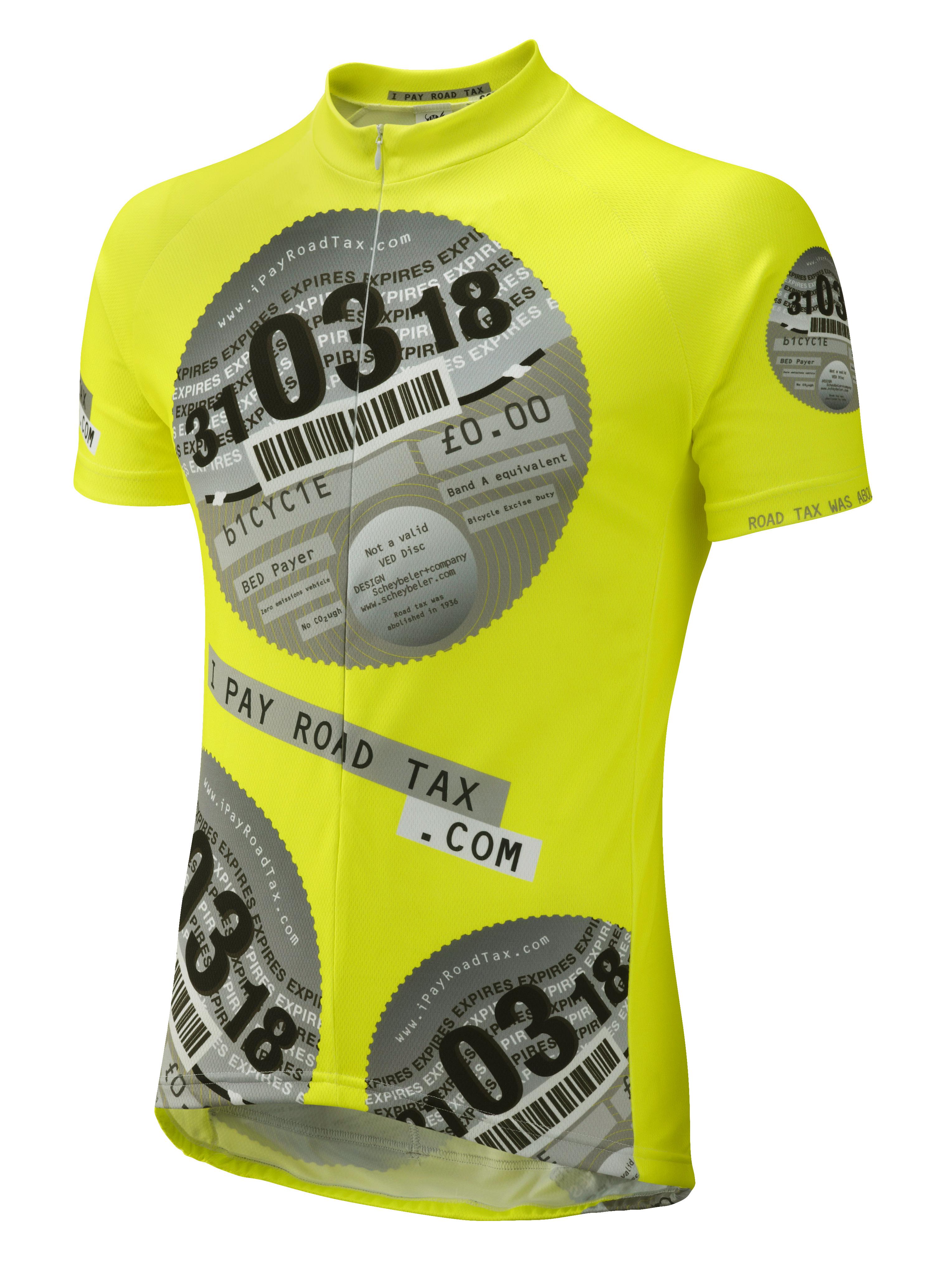 ef06f2a3e iPayRoadTax Road Cycling Jersey - Front Black iPayRoadTax Fluro Yellow ...