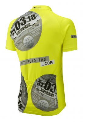 iPayRoadTax Fluro Yellow Road Cycling Jersey - Black Back