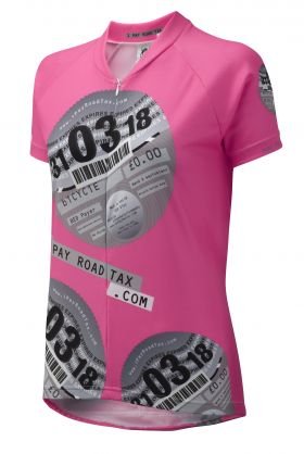 iPayRoadTax Pink Cycling Jersey - Front Black