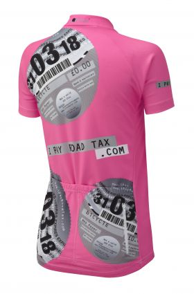 iPayRoadTax Fluro Pink Road Cycling Jersey - Black Back